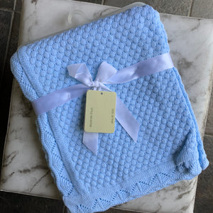 Baby Dove Blue Popcorn Pattern Knit Blanket