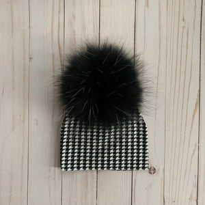 Black & White Houndstooth Beanie With Pom Pom