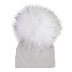 Light Grey Beanie With White Pom Pom
