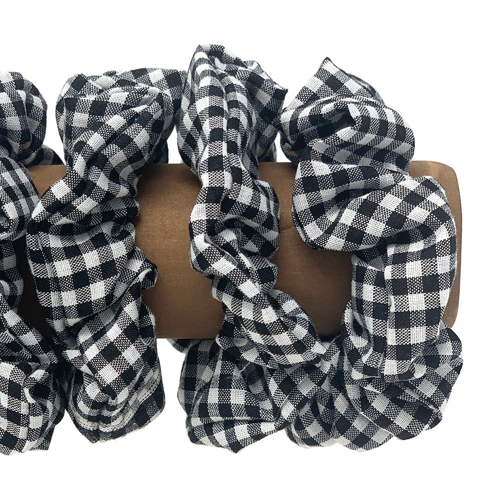 Black and White Gingham Hair Scrunchie