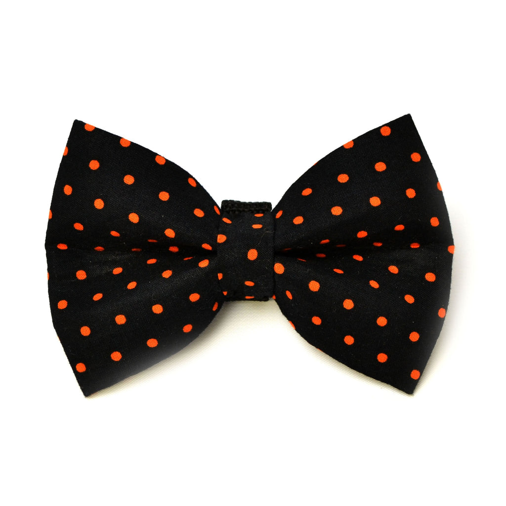Black and Orange Polka Dot Halloween Dog Bow Tie