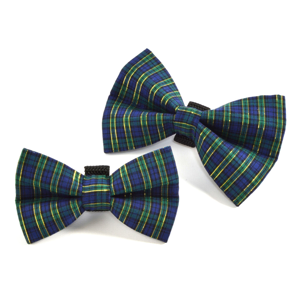 Blue Green Gold Plaid Holiday Dog Bow Tie