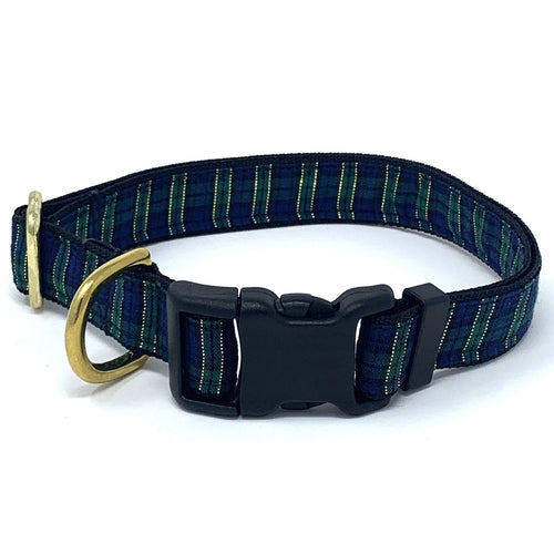 Blue Green and Gold Holiday Dog Collar