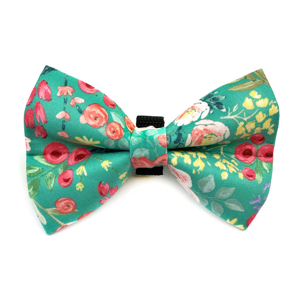 Green Floral Dog Bow Tie 1