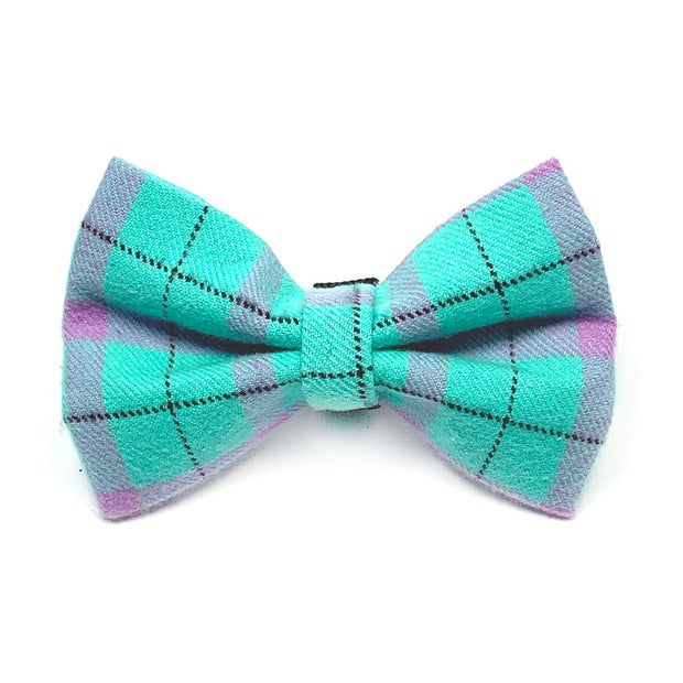 Turquoise Flannel Dog Bow Tie 1