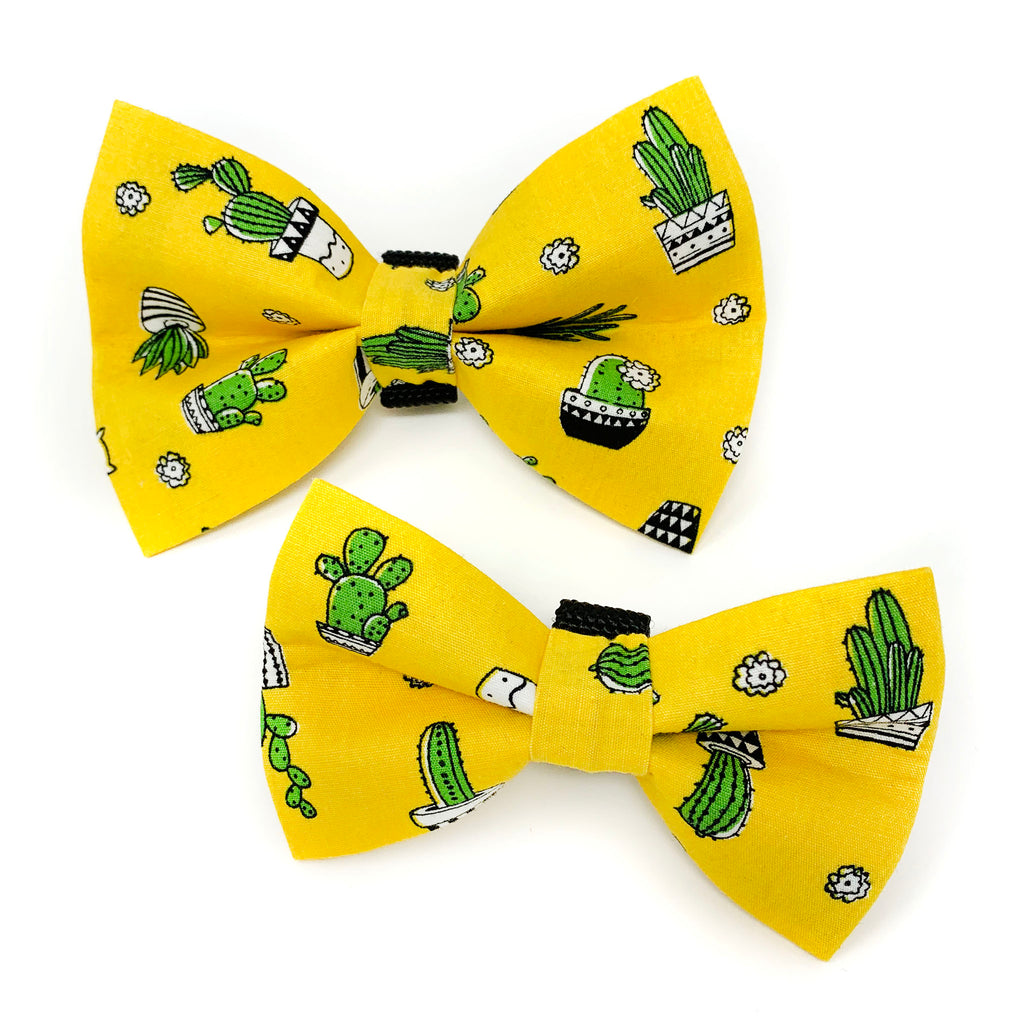 Yellow Cactus Dog Bow Tie
