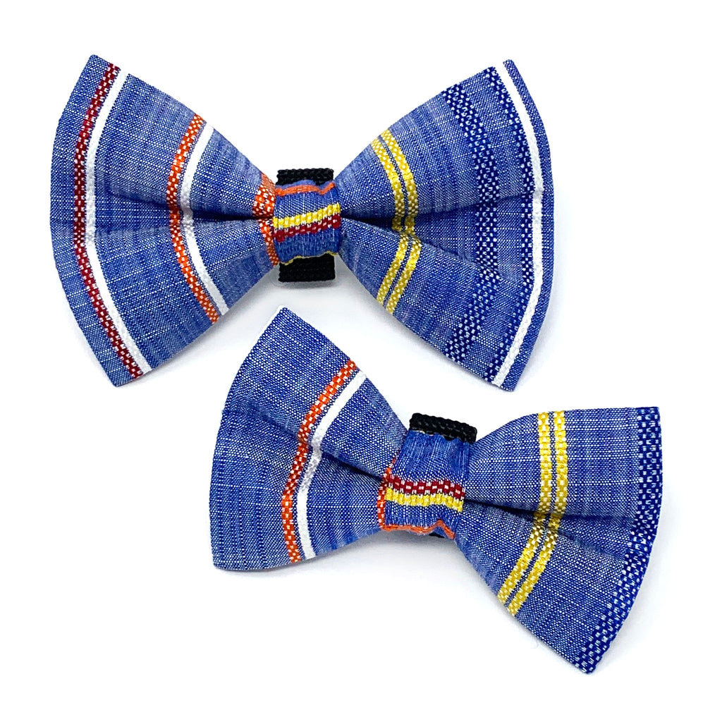 Chambray Stripe Dog Bow Tie