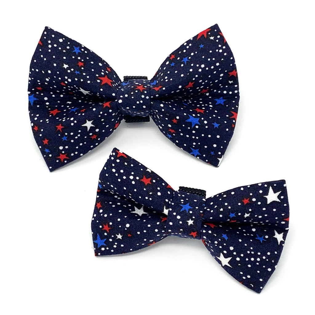 Red White and Blue Stars (Navy) Dog Bow Tie