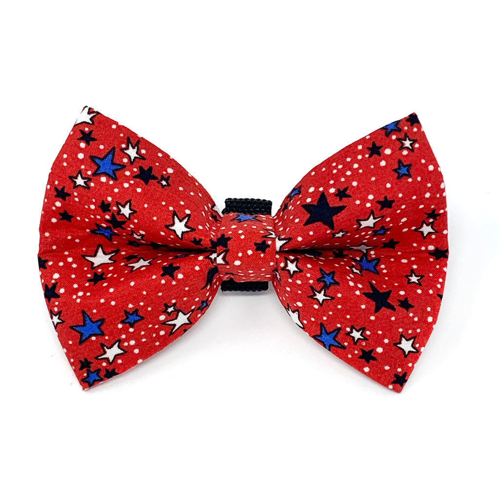 Red White and Blue Stars (Red) Dog Bow Tie