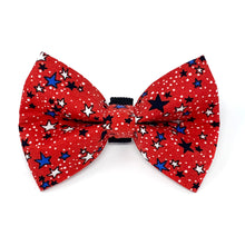 Load image into Gallery viewer, Red White and Blue Stars (Red) Dog Bow Tie