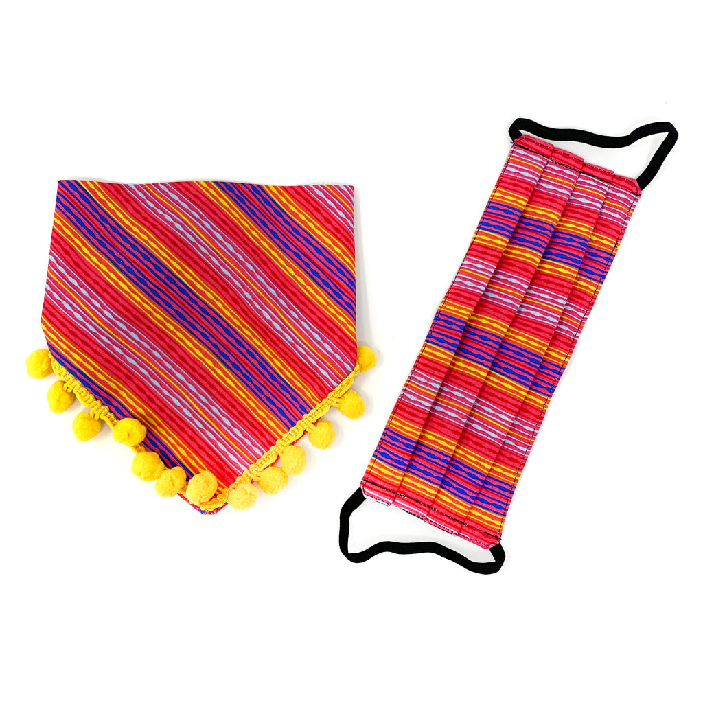 Fiesta Print Face Mask + Dog Bandana Matching Set