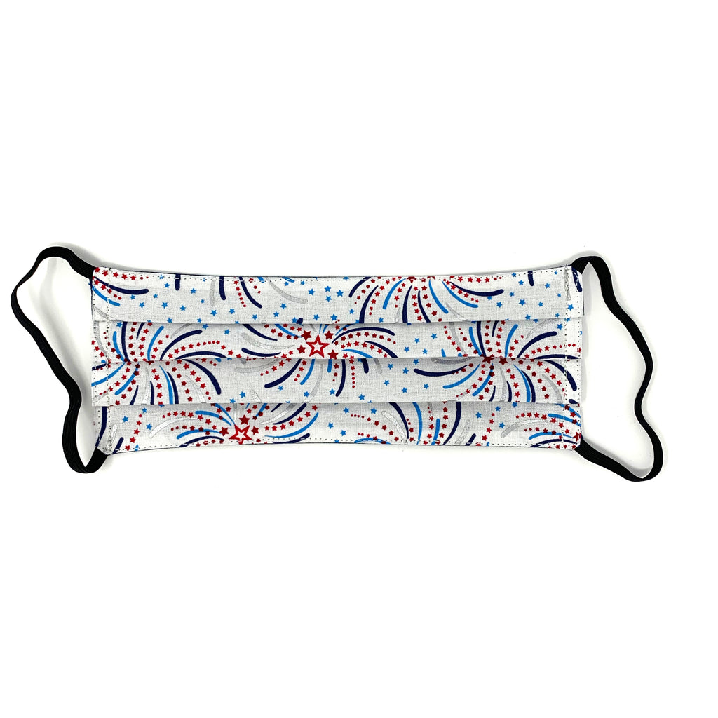 "Fireworks Print w/ Navy Back Face Mask - 1"" Longer Elastic"