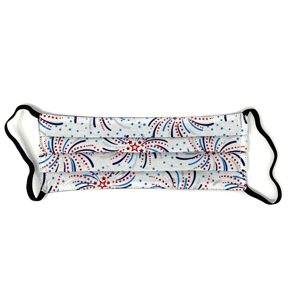 Fireworks Print w/ Navy Back Face Mask - 1