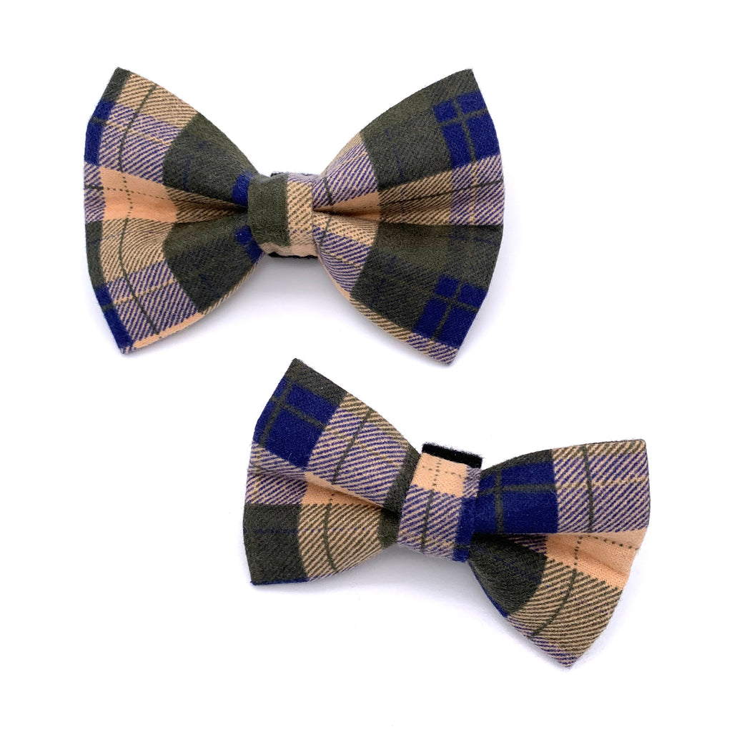 Fall Plaid Flannel Dog Bow Tie