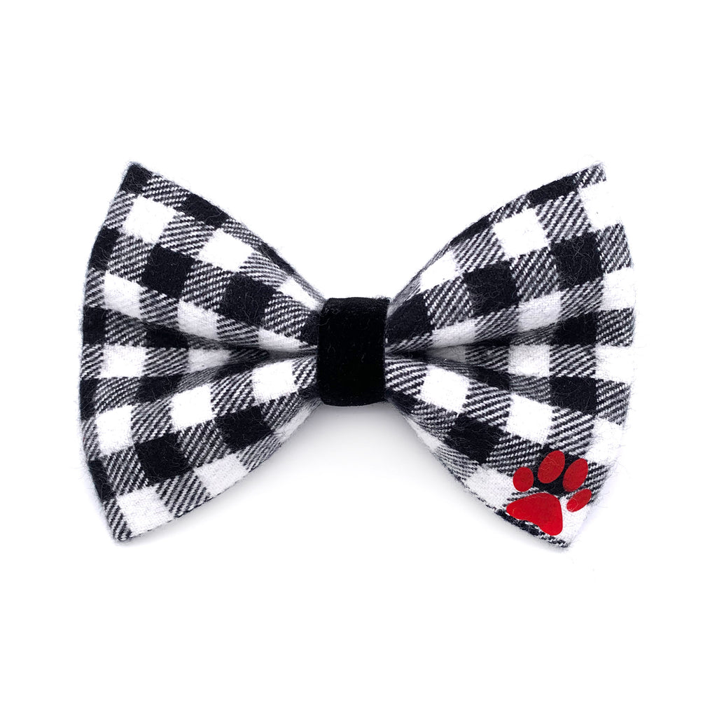 Black and White Gingham Flannel Dog Bow Tie