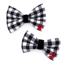 Load image into Gallery viewer, Black and White Gingham Flannel Dog Bow Tie