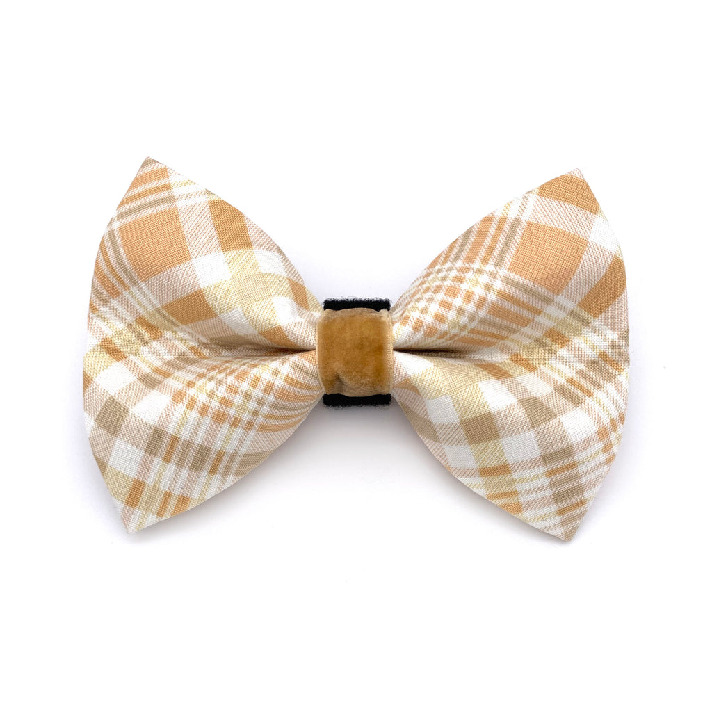 Pumpkin Spice Plaid Dog Bow Tie
