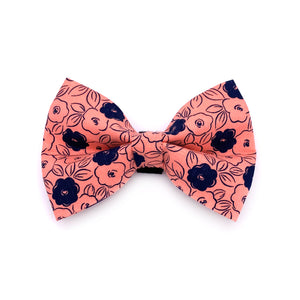 Pink and Navy Floral Dog Bow Tie