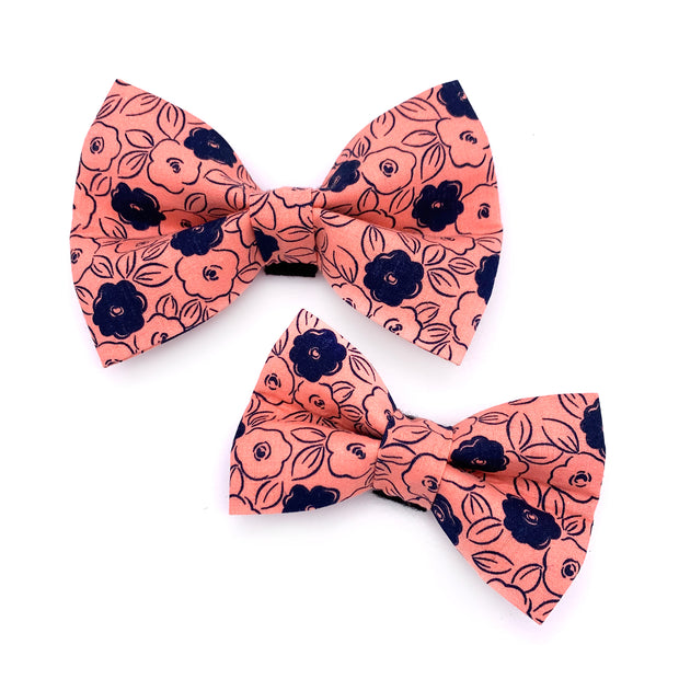 Pink and Navy Floral Dog Bow Tie 1