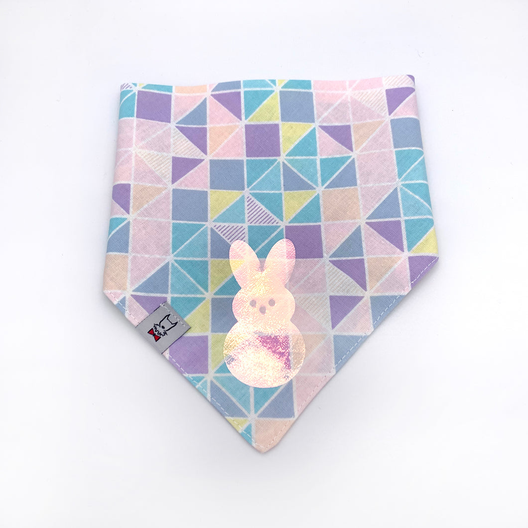 Pastel Easter Dog Bandana with Holographic Bunny - SIZE SMALL