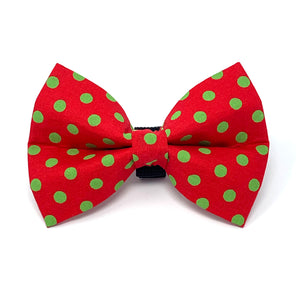 Red and Green Polka Dot Dog Bow Tie