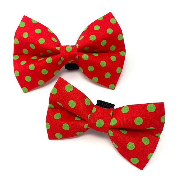 Red and Green Polka Dot Dog Bow Tie 1