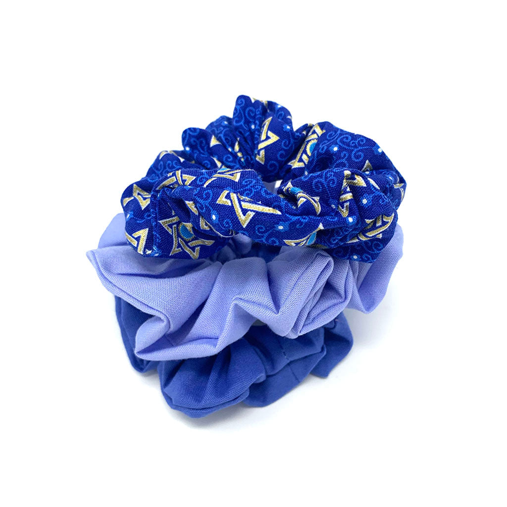 Blue Hanukkah Hair Scrunchie