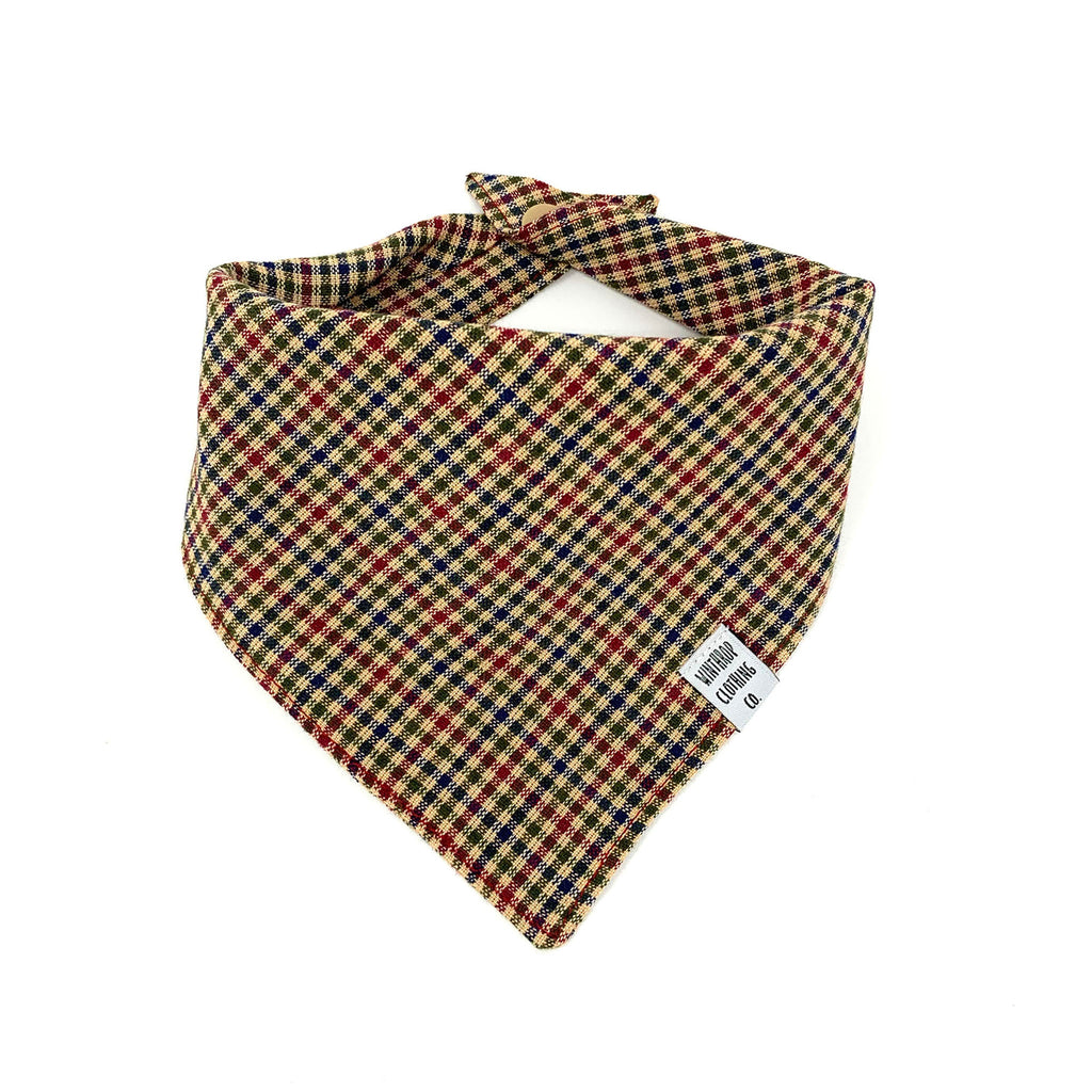Brown Check Dog Bandana