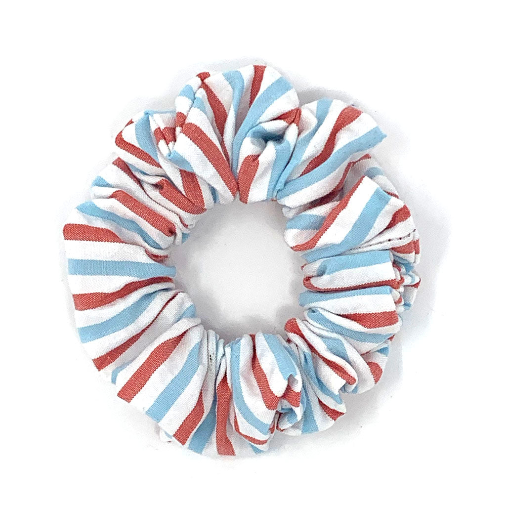Red and Blue Seersucker Striped Hair Scrunchie