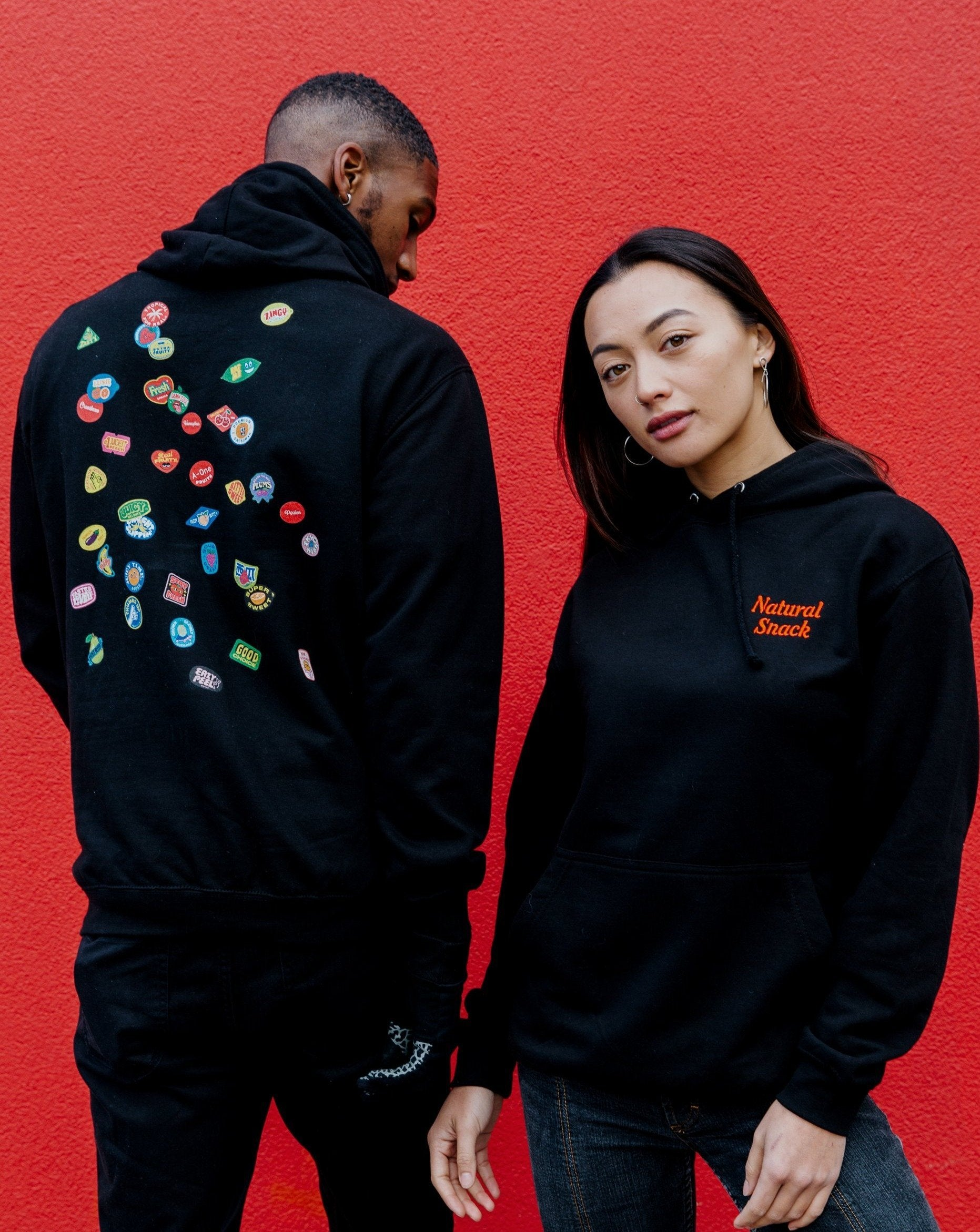SCATTER HOODIE - BLACK - Fruit Stickers