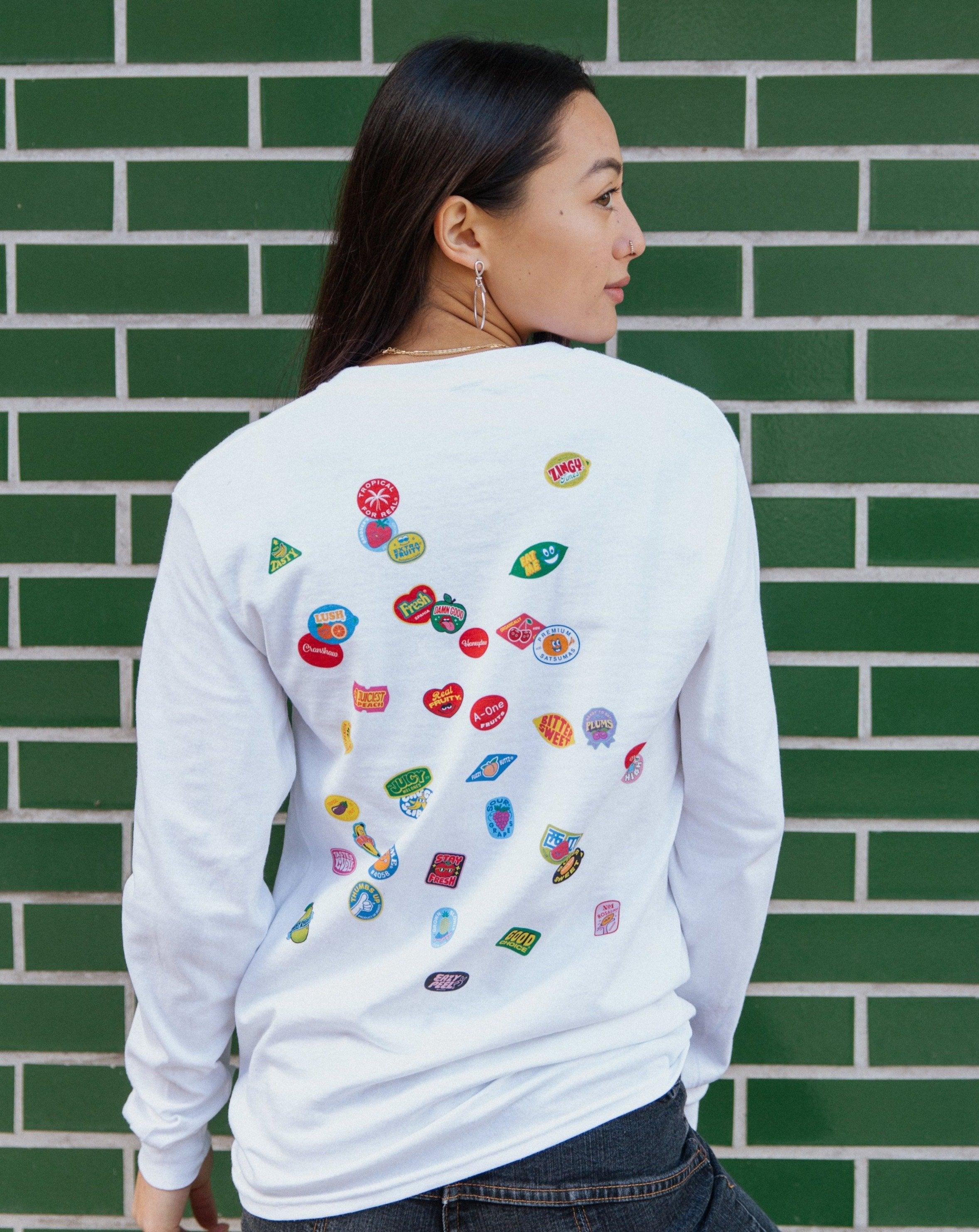 Scatter Long Sleeve - Fruit Stickers