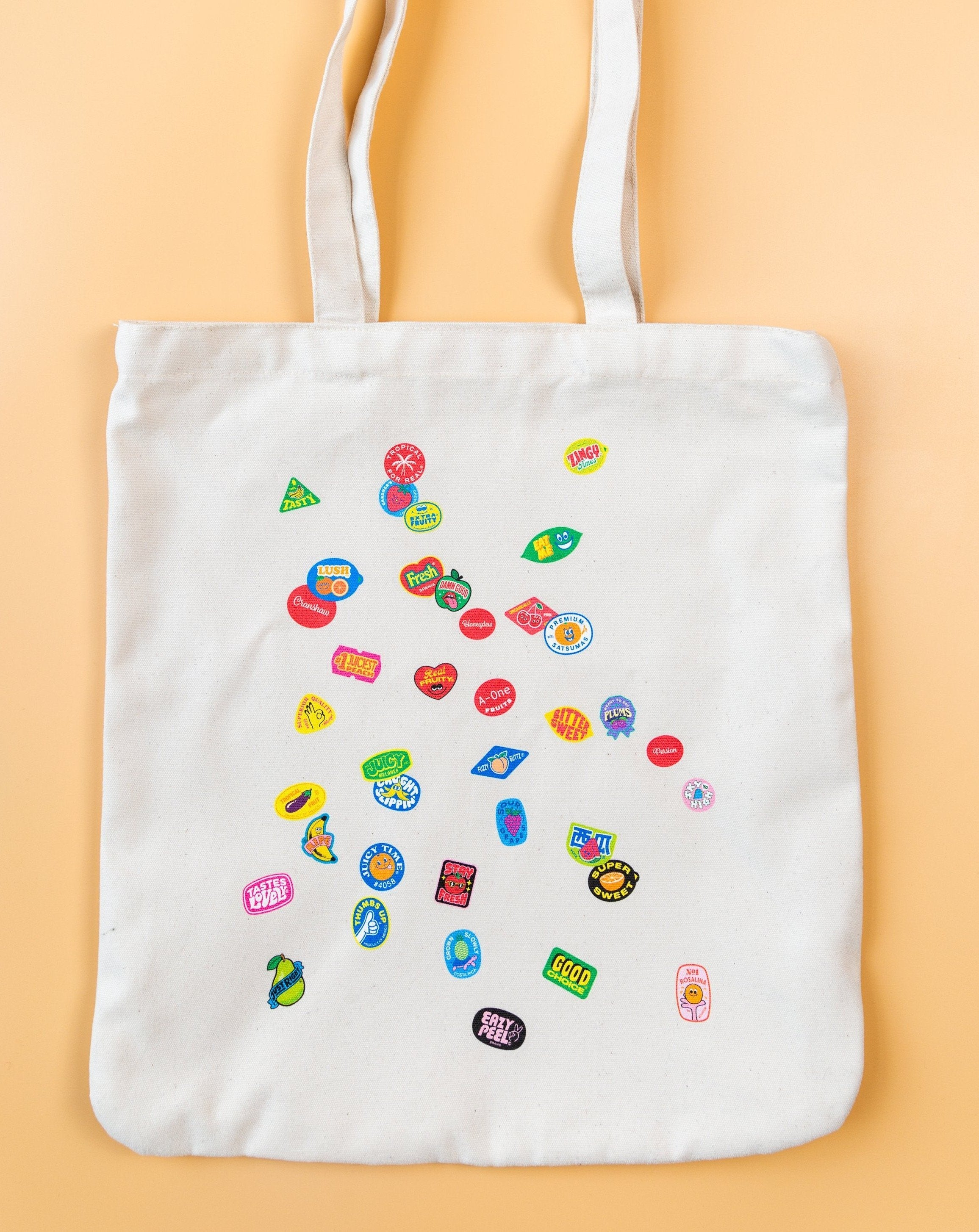 SCATTER ORGANIC TOTE - BEIGE - Fruit Stickers
