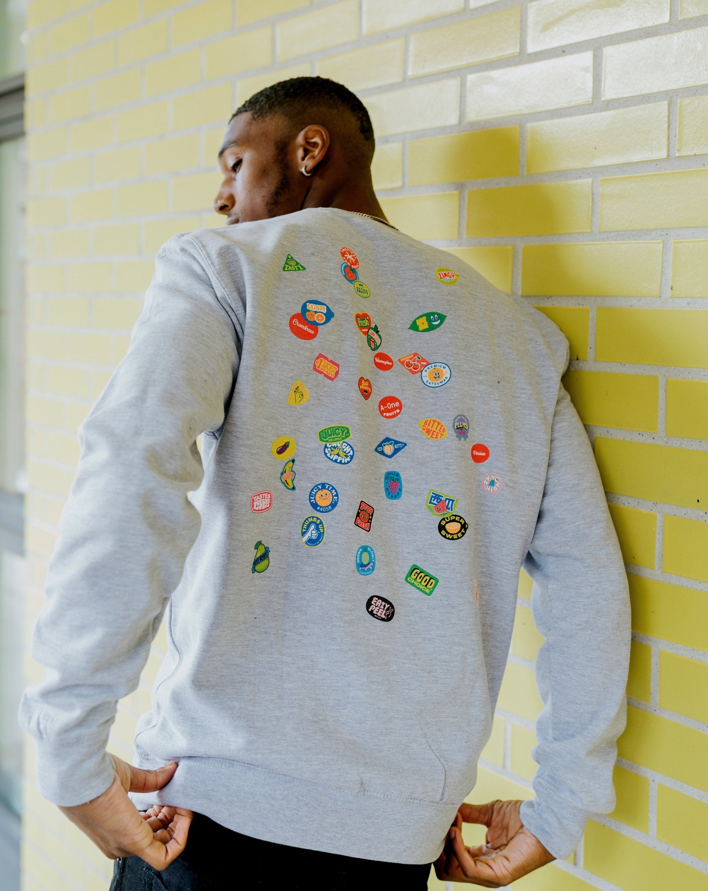SCATTER SWEATSHIRT - GREY - Fruit Stickers