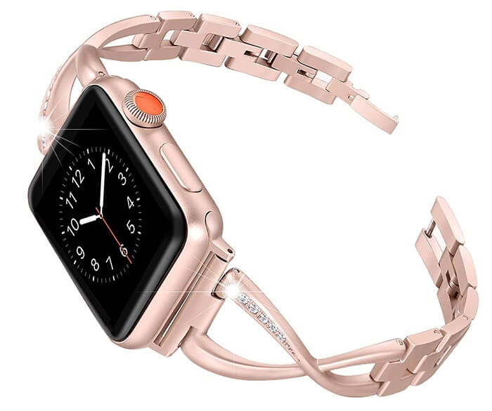 Stainless Steel Women Band Compatible with Apple Watch