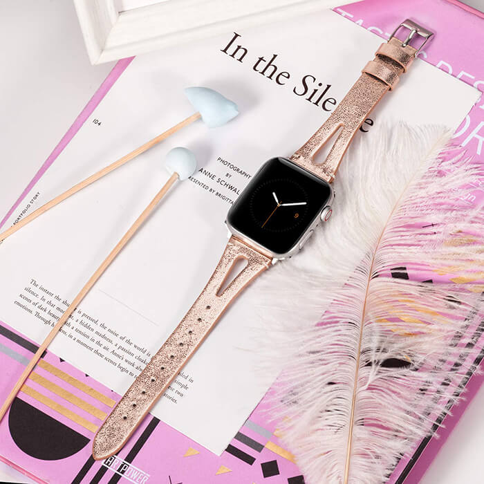 Rose Gold Leather Compatible with Apple Watch