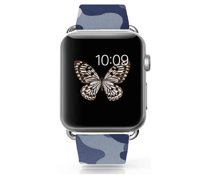 Blue-Gray Camo Leather Strap for Apple Watch 38mm