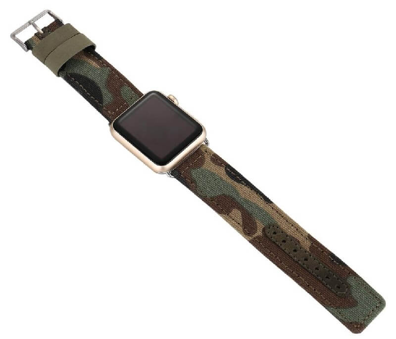 Leather Canvas Camo Watch Band for Apple Watch 38mm