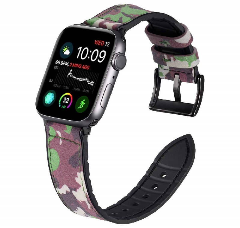 Rubber Leather Camo Bands for Apple Watch