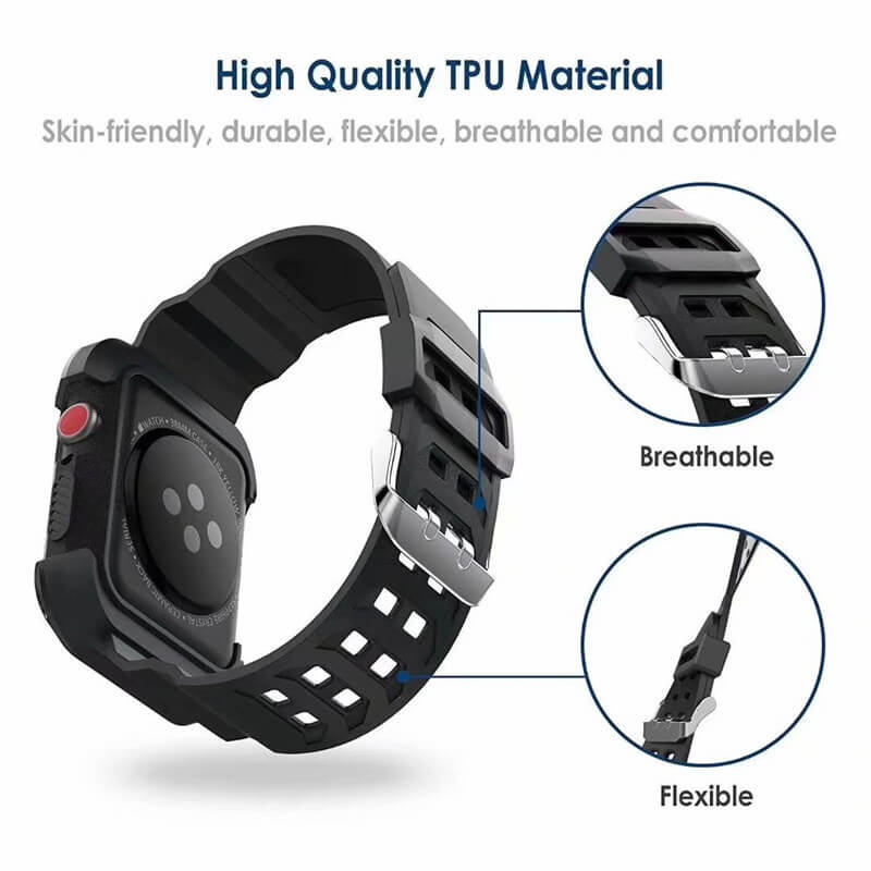 Rugged Protective Case Straps for Apple Watch 4 44mm 40mm - BandGet