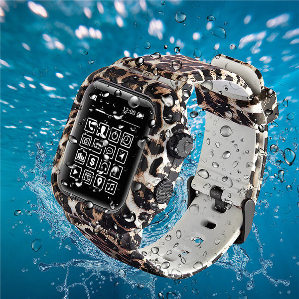 Leopard Waterproof Case Watch Band for Apple Watch 5 4 3 2 1