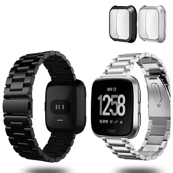 2-Pack Stainless Steel Bands for Fitbit Versa / Versa Lite with Screen Protectors - BandGet