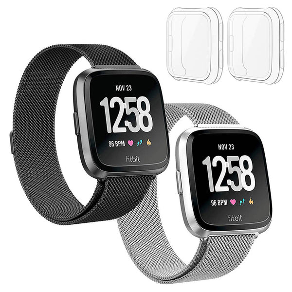 2-Pack Milanese Loop Bands for Fitbit Versa Lite with Screen Protectors - BandGet