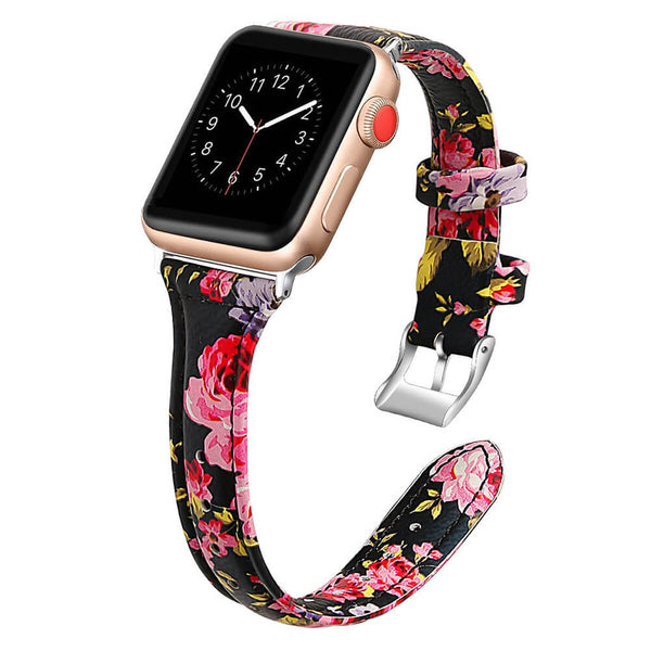 Slim Leather Floral Straps for Apple Watch 5 4 3 2 1
