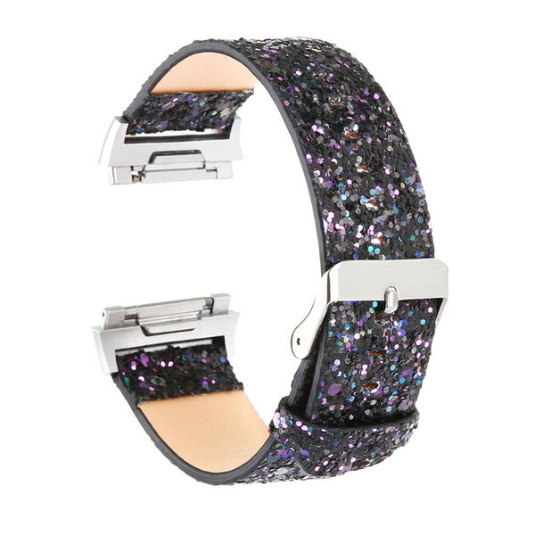 Bling Genuine Leather Women Straps for Fitbit Ionic
