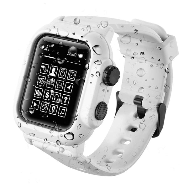 Apple Watch 5 IP68 Waterproof Case Watch Band - White