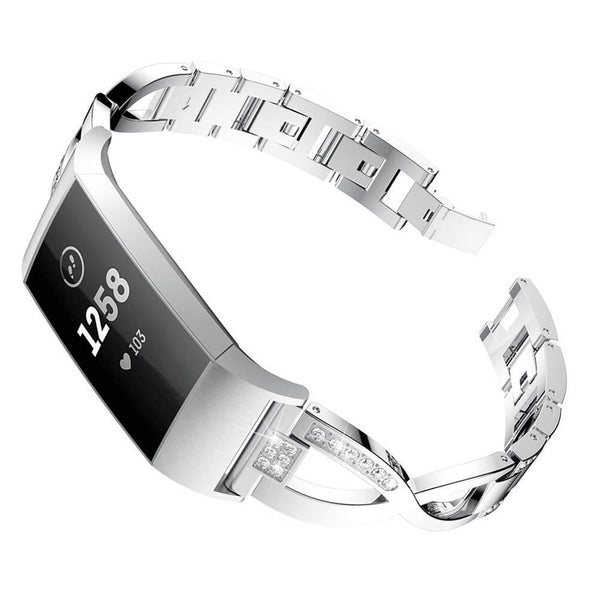 Stainless Steel Metal X-shaped Diamond Band for Fitbit Charge 3 & 3 SE - BandGet