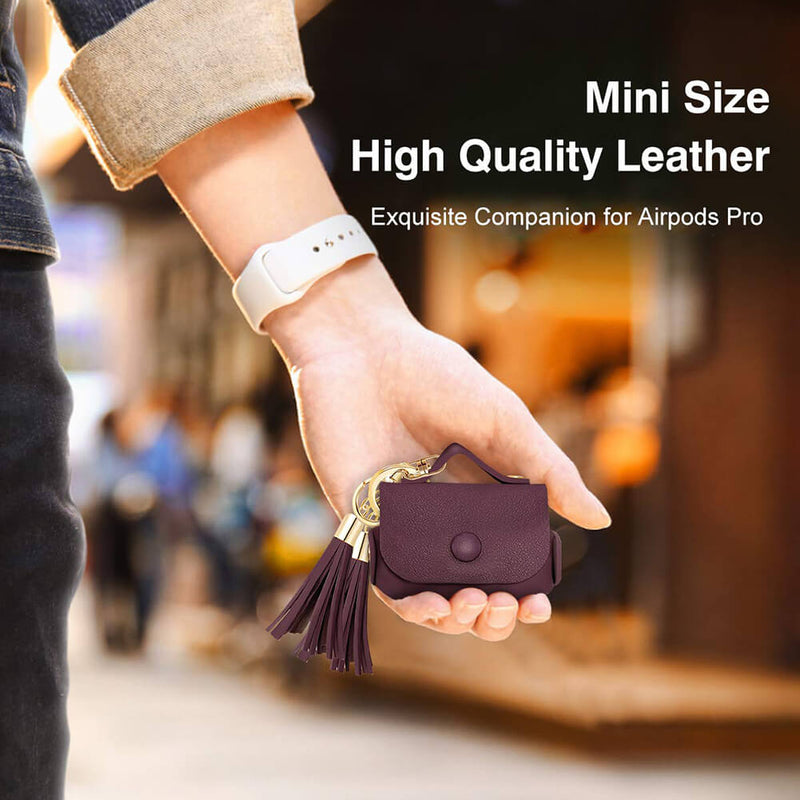 Ultra-Thin Soft Leather Protective Case for AirPods Pro with Keychain Hook - BandGet