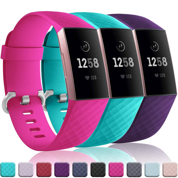 3-Pack Waterproof Bands Replacement for Fitbit Charge 3 & Charge 3 SE - BandGet
