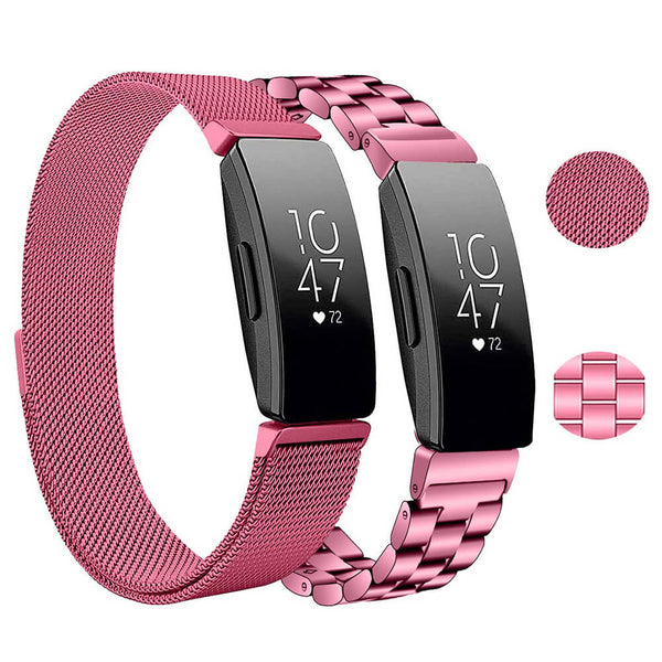 2-Packs Stainless Steel Milanese Loops for Fitbit Inspire HR & Inspire - BandGet