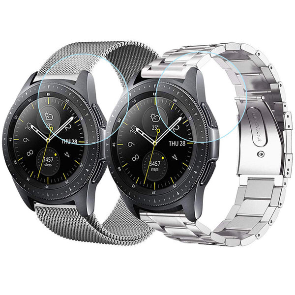 2 Pack Metal Bands for Galaxy Watch 42mm with Screen Protector - BandGet